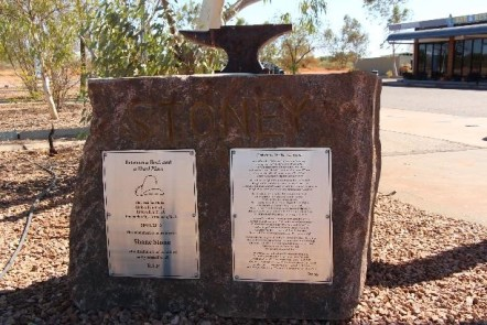 """A memorial to Shane """"Stoney"""" Stone, who I know nothing about except that, despite the cartoon implications of his memorial, an anvil was not dropped on his head."""