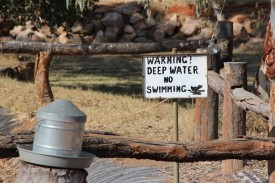This is the warning sign at the dry billabong.. I'm assured sometimes the sign isn't lying.